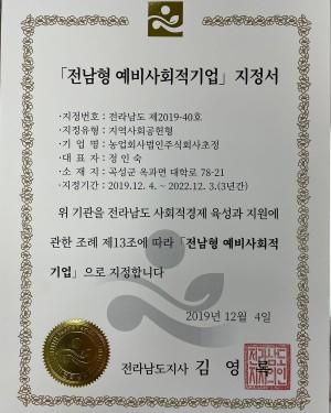 전남형 예비사회적기업 인증서